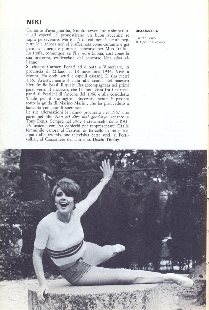 niky - carmen penati - italian singer - enciclopedia dei cantanti e delle canzoni - 1969