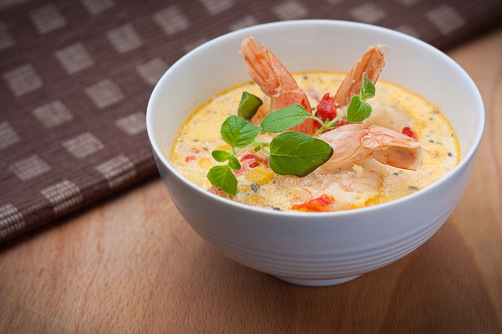 Shrimps and corn chowder