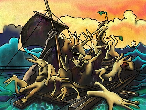 Raft of the Bunnies (ArtRage on the iPad) | by Matthew Watkins