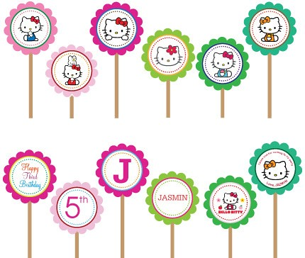 photo relating to Kitty Printable referred to as Hi there Kitty- Printable Do-it-yourself Tailor made Cupcake Toppers www.etsy