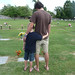 Dylan and I by my mom and brother's gravesite