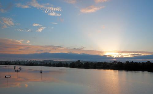 tower sunrise river dawn