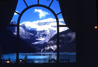 hotel window view of lake Louise