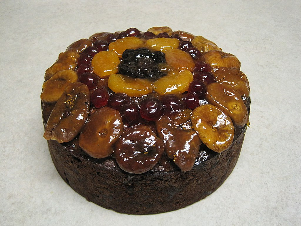 Christmas cake topped with glazed fruit - by Aunty Janet