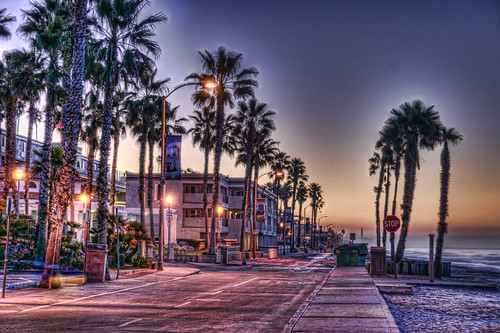 beach sunrise palms dawn oceanside shore hdr beginer