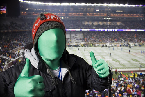 Green Man during Monday Night Football at TCF Bank Stadium