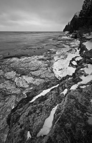 longexposure winter lake ice wisconsin sunrise nikon wideangle lakemichigan penninsula tamron doorcounty goldenhour 10mm d90 cavepoint smoothwater