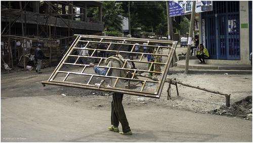 carrying ethiopia fence street weldiya amhara