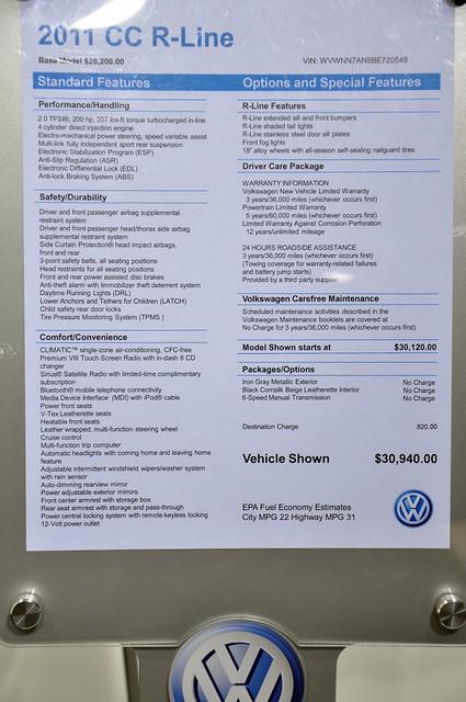 VW CC sticker price
