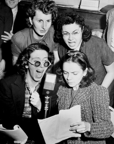 Jane Hoffman, Tobey Weinberg, Ruth Goodman, and Amelia Romano read for a radio broadcast about the Triangle Fire. | by Kheel Center, Cornell University Library