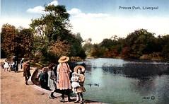 Liverpool c 1910s Postcard - Children at Princes Park Lake