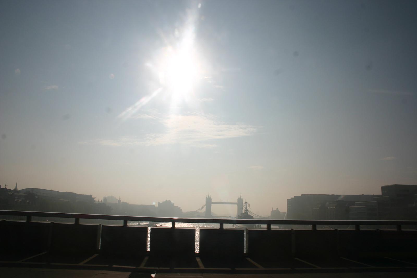 Sunshiney Smoggy Morning 8.30 am Good Friday, London Bridge View