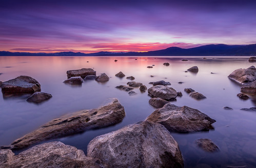 california longexposure sunset lake water landscape us rocks unitedstates laketahoe kingsbeach