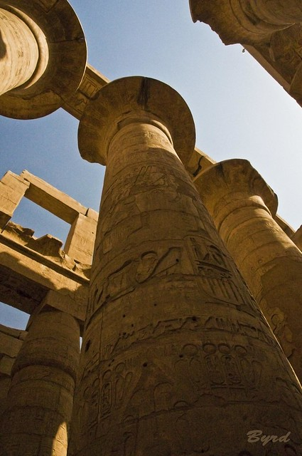 Shadows of Karnak - Great hypostyle hall  built by Ramses II (between 1294 and 1213 BC)
