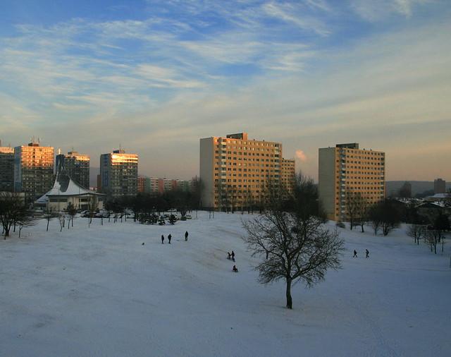 December Sunset in City