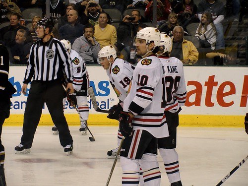 Jonathan Toews and Patrick Sharp | by Anna Enriquez