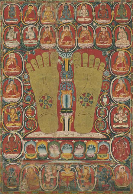 Thangka with the Footprints of the Third Karmapa, Rangjung Dorje