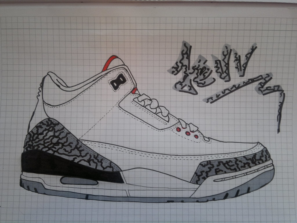 60599714088 Air Jordan III White Cement drawing | I was bored during cla… | Flickr