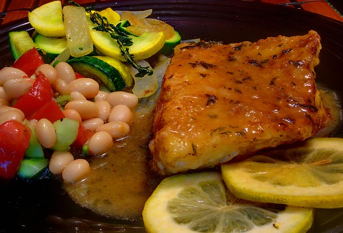 Fresh Fish Francese with Cool Beans Salad, Zucchini and Yellow Squash   by liverock1028