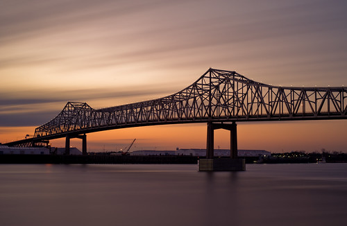 bridge light sunset blur water clouds port river mississippi rouge 50mm evening nikon louisiana long exposure downtown f14 smooth filter nikkor baton stacked seconds horace density wilkinson neutral 486 10stop d700 6stop