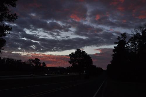 trees silhouette clouds sunrise dawn am traffic redsky i45 weatherchange sooc dsc2646 scavenger6