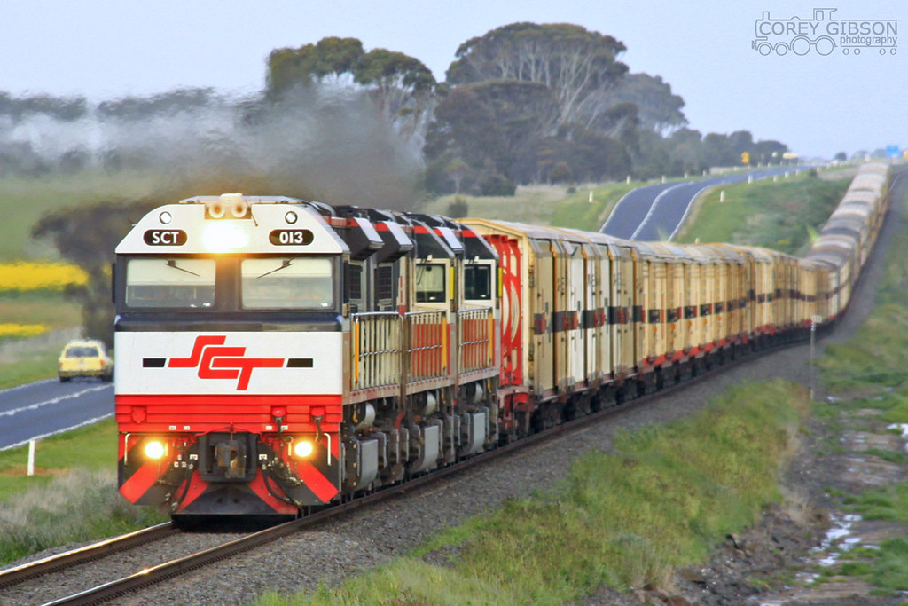 SCT013, SCT004 & SCT001 heads the Perth freight out of Wingeel by Corey Gibson