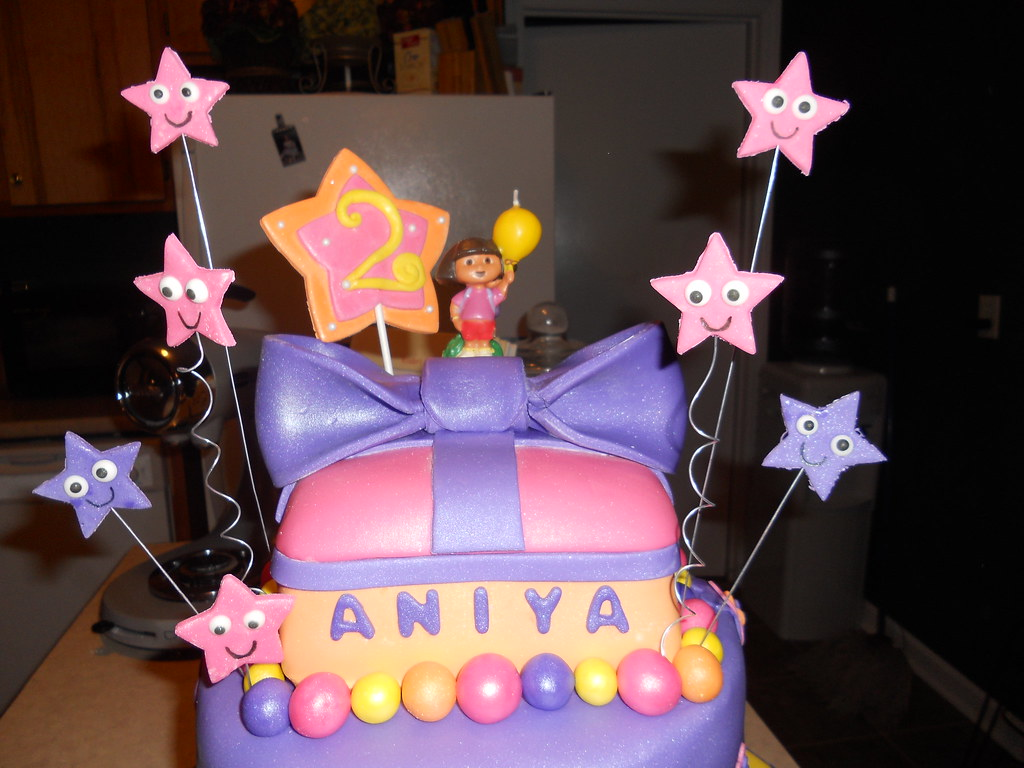 Excellent Dora The Explorer Birthday Cake Inspired By Dora The Explo Flickr Personalised Birthday Cards Veneteletsinfo