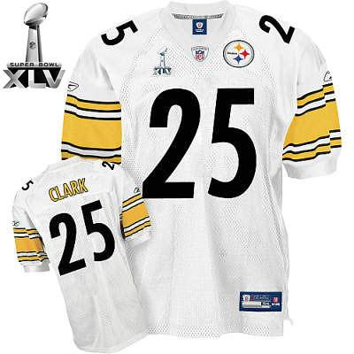 pretty nice 40fdc 62b1b Pittsburgh Steelers #25 Ryan Clark Super Bowl XLV White Je ...