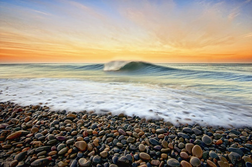 ocean sea seascape beach water clouds sunrise coast rocks surf pacific tide wave peak pebbles coastal breaker pfa ccl uwb oceanscape