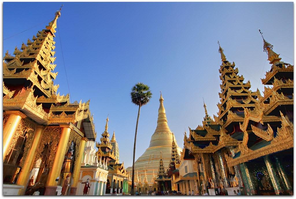 GoEoo 10x8ft Shwedagon Pagoda in Yangon Backdrop Vinyl Photography Background Myanmar Famous Sacred Place and Tourist Attraction Landmark Tourist Sites Photo Studio
