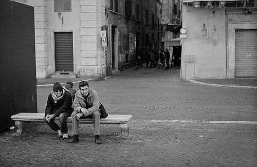 "Image titled ""Two men on a bench, Rome."""