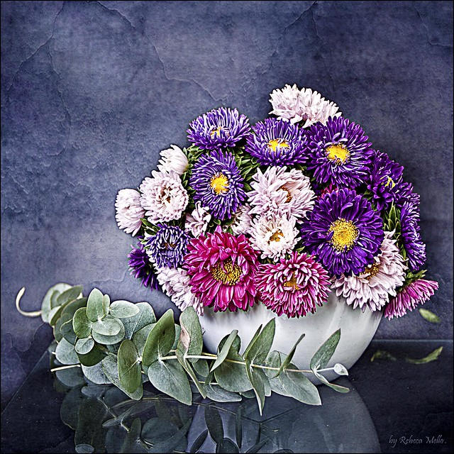 A small vase, colorful daisies ..