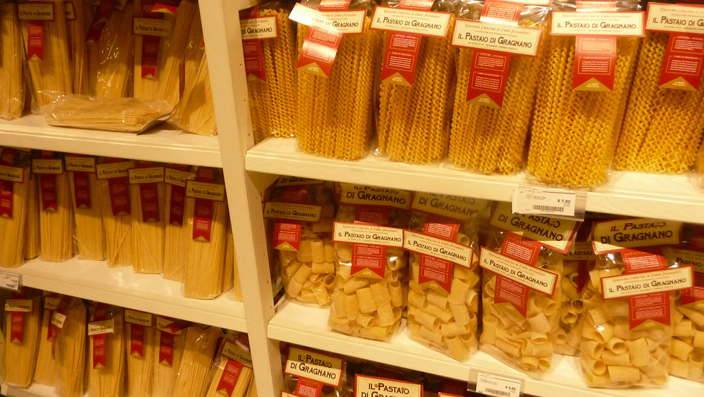 packaged pasta at eataly