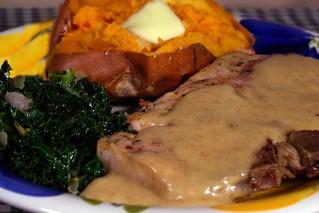 "Pan Seared Pork Chop with a Dijon ""Cream"" Sauce, Roasted Sweet Potatoes, and Sautéed Kale | by liverock1028"