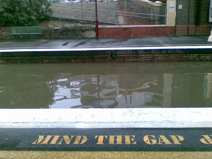 Windsor station during the flood