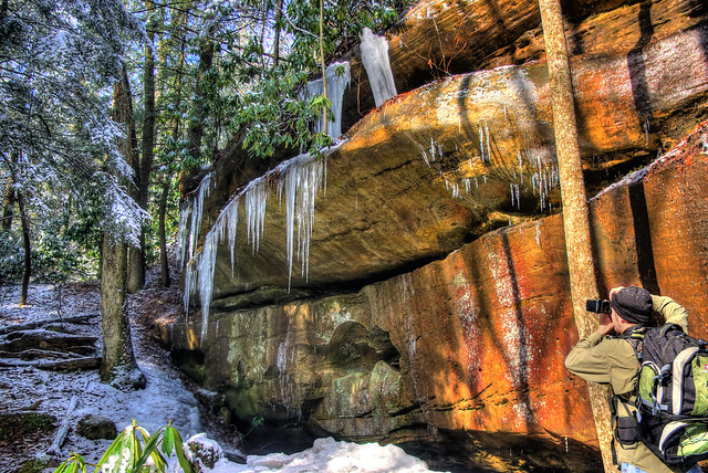 Icicles and Josh Meyer, Middle Creek Trail, BSF NRRA, Pickett Co, TN