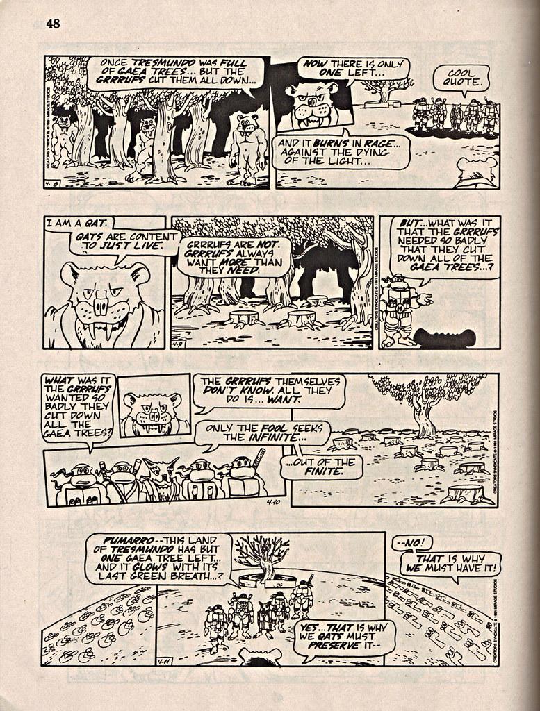 """ComicsReview #62 :: 'Teenage Mutant Ninja Turtles' { newspaper strip } 0408-04111991,  """" The Last Gaea Tree"""" pg.48 (( 1991 )) by tOkKa"""