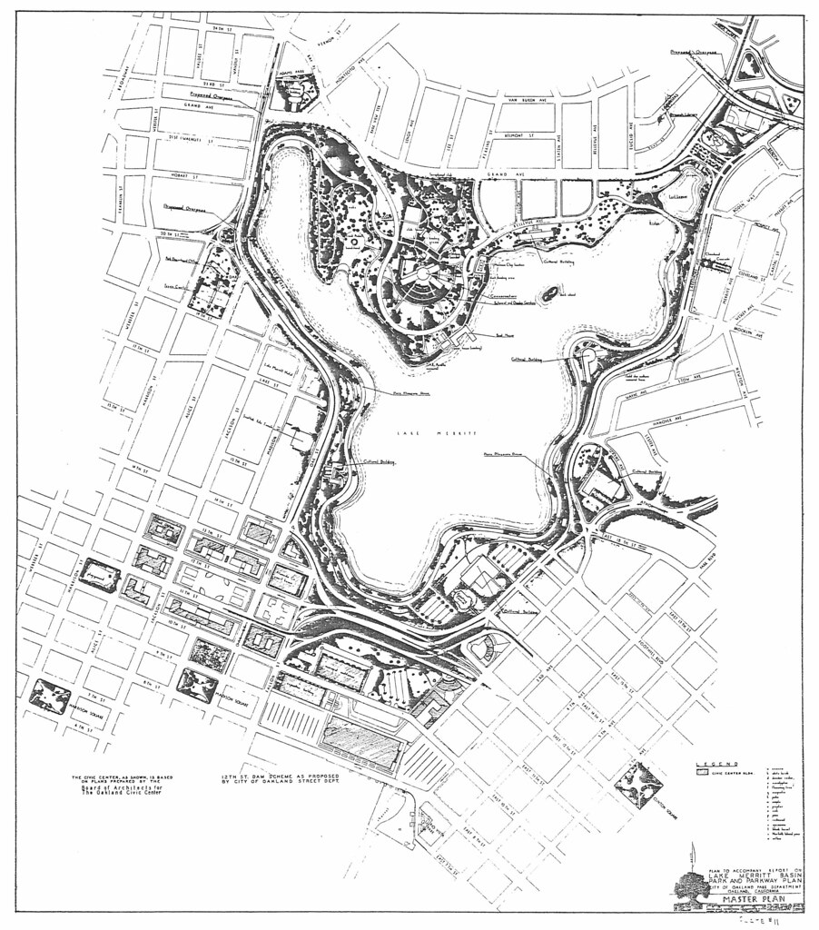 Plan to Accompany Report on Lake Merritt Basin Park and Parkway Plan (1947?)