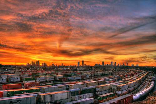 atlanta orange usa sun skyline clouds yard america train sunrise canon ga georgia aj downtown day cityscape cloudy tracks container midtown hdr freight csx brustein tilford 50d