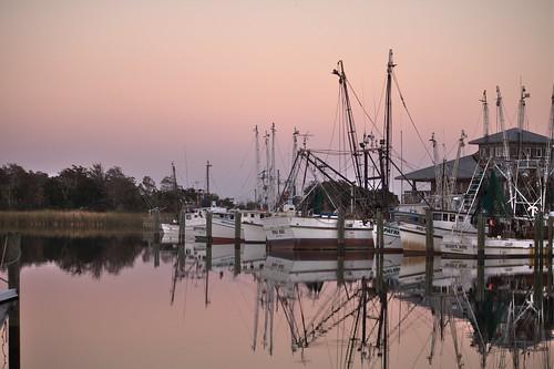ocean sunset reflection water glass boats bay purple florida hdr apalachicola shrimpboats forgottencoast photomatix photomatixpro shrimpers bearwoodsphotography