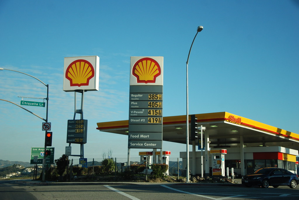 NEWHALL SHELL GASOLINE STATION FUEL PRICES SIGNS