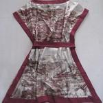 312023斜纹绸印景色裙 2 4 6 红色-浅黄色  胸92 长82 (4)