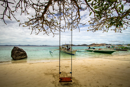 white flower tree beach rock clouds boat sand philippines swing coron hdr palawan malcapuya canoneos7d