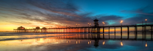 california ca sunset sea clouds coast pier twilight lowtide huntingtonbeach huntingtonpier nikkor1424mm