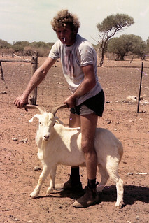 Ric & Goat at 10 Mile Bore, Hamelin Station -1977