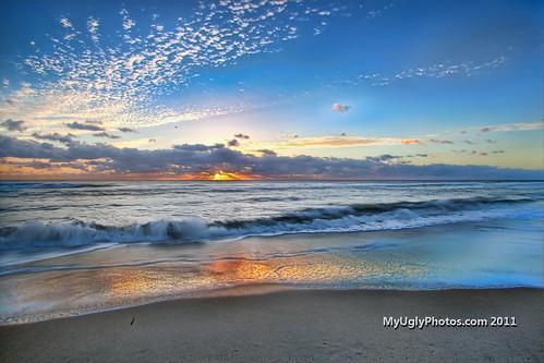ocean blue sky orange dog reflection beach clouds sunrise canon blog sand waves glow florida ryan atlantic hdr eastcoast boyntonbeach sexton 2011 canon5dmkii myuglyphotos