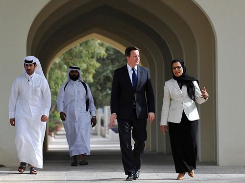 David Cameron arrives at Qatar University | by UK Prime Minister