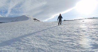 Ed descending towards the ski slope, Cairngorms | by Masa Sakano