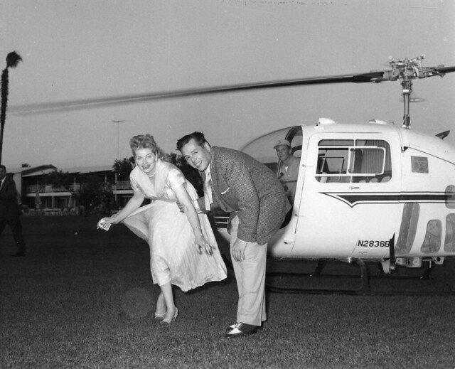 Lucille Ball and Desi Arnaz arriving by Helicopter to the Canyon Country Club in Palm Springs, CA