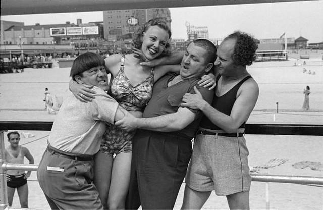 The Three Stooges and Barbara Bradford Mann -- 1938